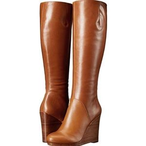 Nine West Harvee Tall Wedge Boots Brown Sz 9.5